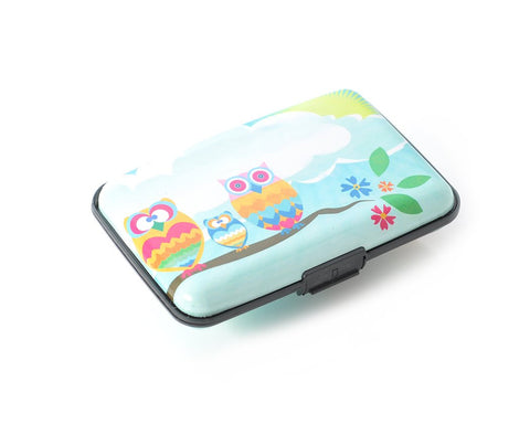 Owl Printed Business Card Case - Light Blue