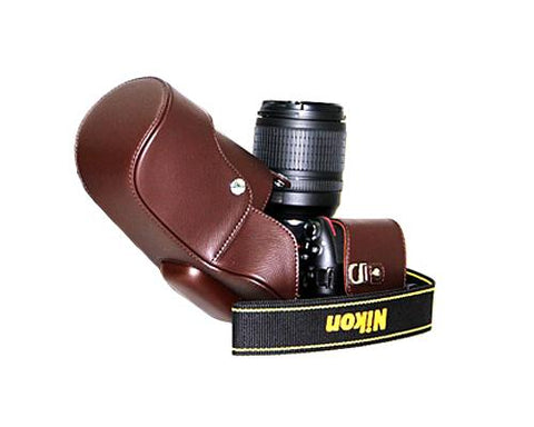 Retro Nikon D5200 Camera Leather Case - Brown
