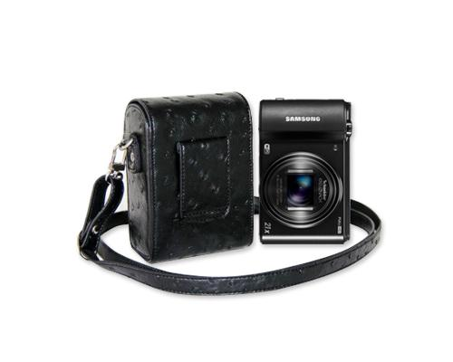 PU Ostrich Leather Mirrorless Camera Bag with Adjustable Strap - Black
