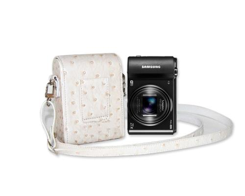 PU Ostrich Leather Mirrorless Camera Bag with Adjustable Strap - White