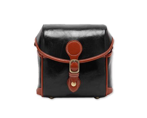 Vintage Style Leather Shoulder Bag for DSLR Camera - Black