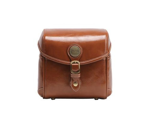 Vintage Style Leather Shoulder Bag for DSLR Camera - Light Brown