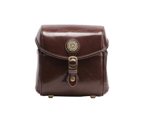 Vintage Style Leather Shoulder Bag for DSLR Camera - Dark Brown