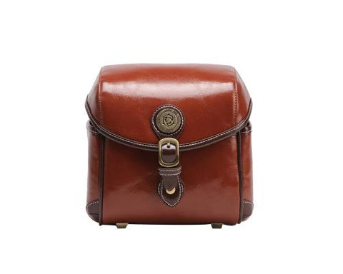 Vintage Style Leather Shoulder Bag for DSLR Camera - Brown
