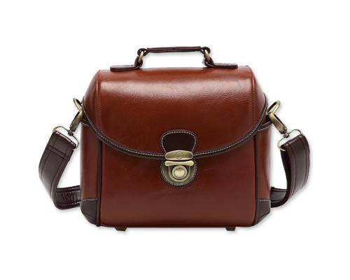 Classic DSLR Leather Shoulder Bag with Detatchable Strap - Brown