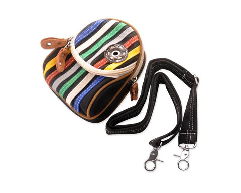 Youthful Canvas Stripes Shoulder Bag - Black