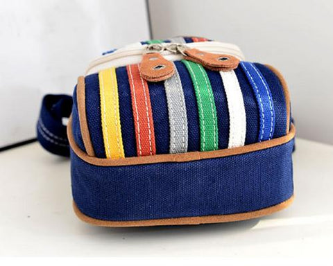 Youthful Canvas Stripes Shoulder Bag - Blue