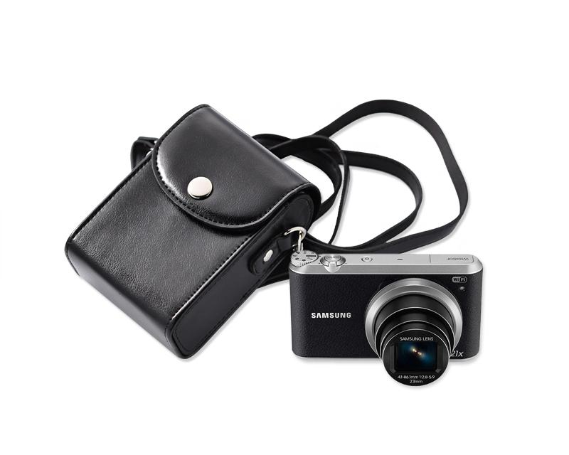 Simple PU Leather Shoulder Bag for Mirrorless Camera - Black