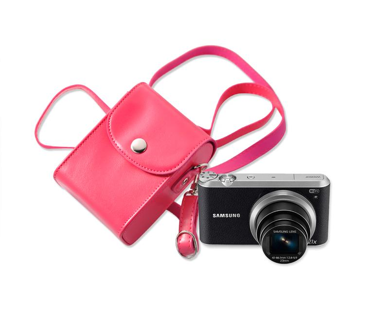 Simple PU Leather Shoulder Bag for Mirrorless Camera - Magenta