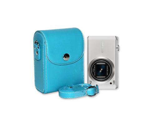 Simple PU Leather Shoulder Bag for Mirrorless Camera - Ice Blue