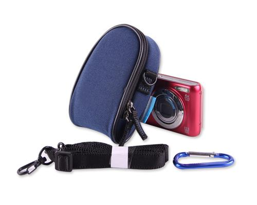 Dual Zipper Samsung ST150F Digital Camera Case - Dark Blue