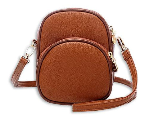 Classy PU Leather Shoulder Bag with Adjustable Strap - Brown