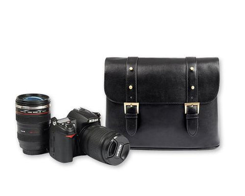 Vintage Leather Shoulder Bag for DSLR SLR Camera - Black