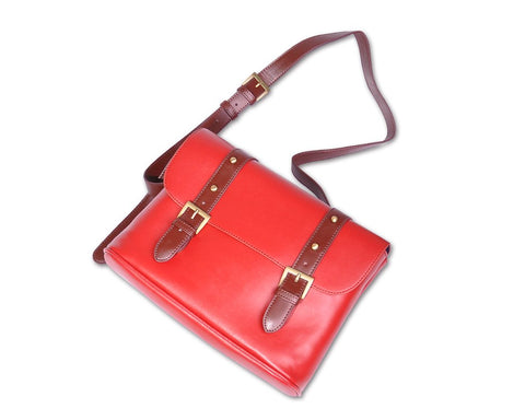 Vintage Leather Shoulder Bag for DSLR SLR Camera - Red