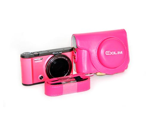 Retro Casio Exilim EX-ZR3500/EX-ZR2000 Camera Leather Case - Magenta