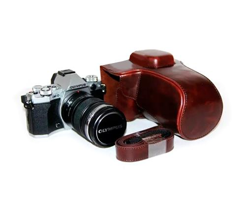 Retro Olympus OM-D E-M5 Mark II Camera Leather Case