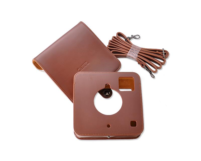 PU Leather Case for Polaroid Socialmatic Instant Digital Camera-Brown
