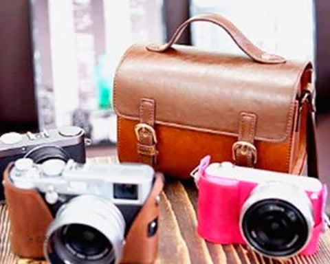 Vintage PU Leather Shoulder Bag for Mirrorless Cameras - Brown