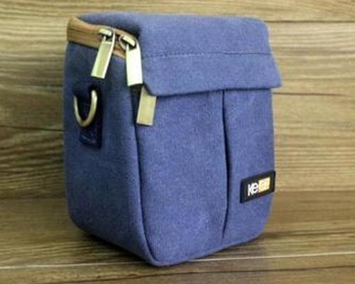 Canvas Compact System Camera Shoulder Bag - Blue