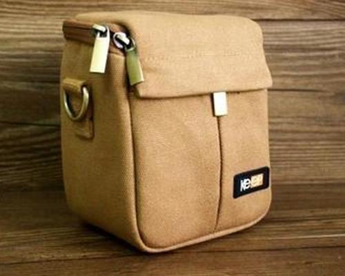 Canvas Compact System Camera Shoulder Bag - Khaki