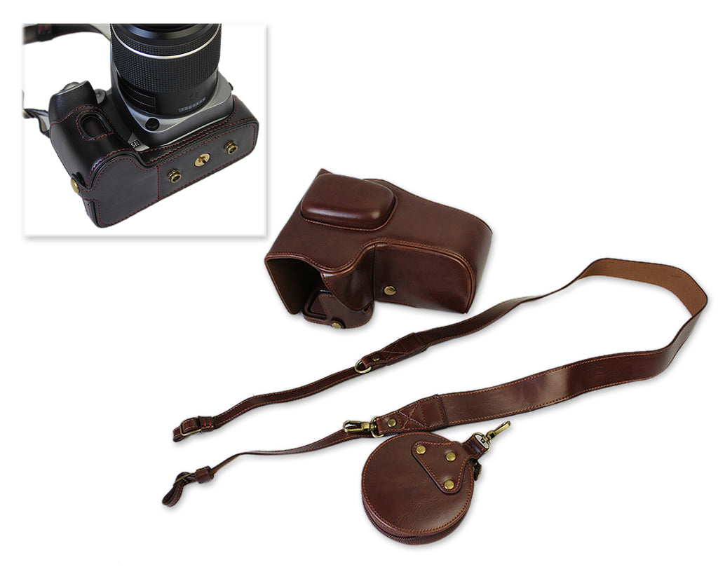 Bottom Opening Pentax K-70 Camera Leather Case - Coffee Brown