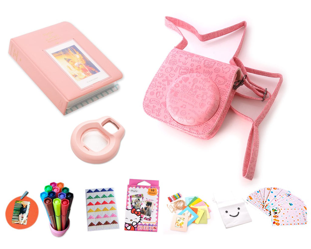 Cute Camera Accessory Bundles Set for Fujifilm Instax Mini 8 - Pink