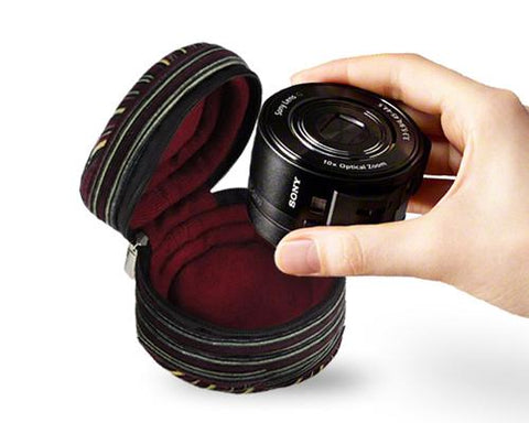 Zipper Sony DSC-Q10 Camera Lens Case - Grids