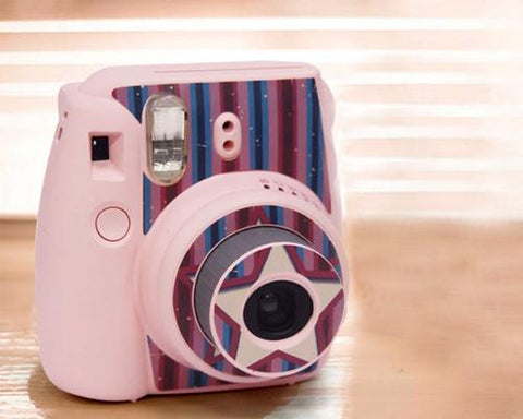 Stripe Camera Sticker for Fujifilm Instax mini 8 - Pink