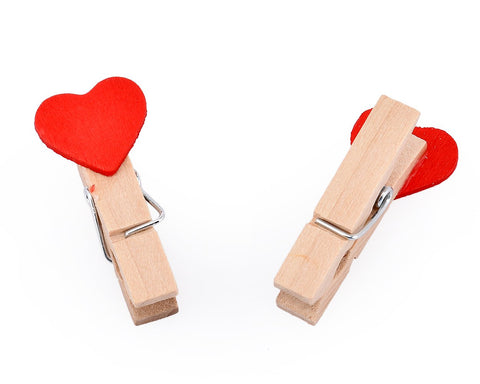 10 Pcs Wooden Pegs Paper Photo Clip With Linen String - Heart
