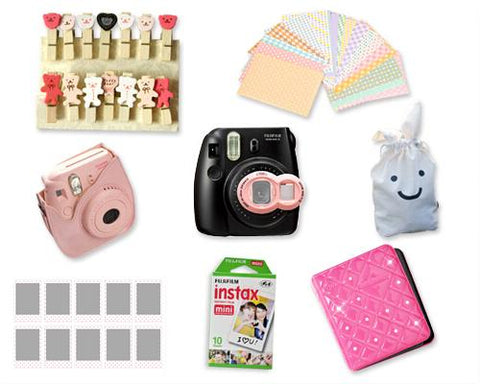 Fujifilm Instant Instax Mini 8 Polaroid Camera Bundle Set - Magenta