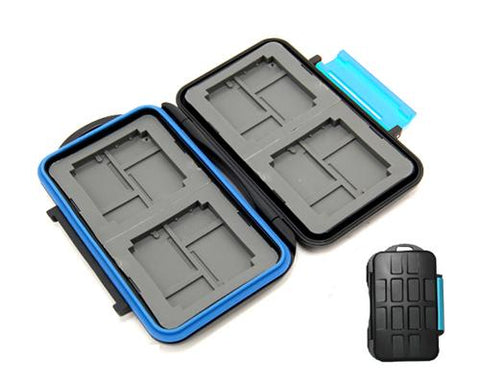 Water-Resistant Camera Memory Cards Storage Holder Case - Blue