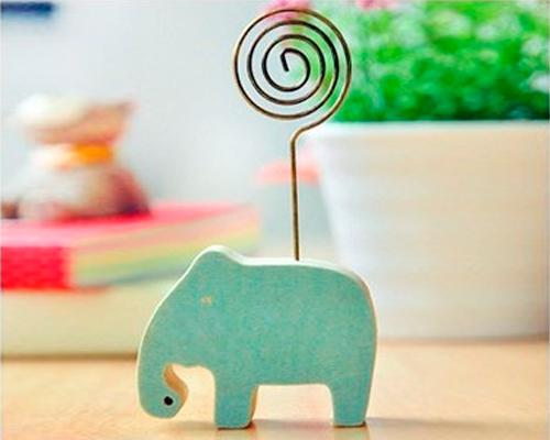 Wooden Memo Clips Place Card Fuji Instax Films Photo Holder - Elephant
