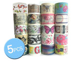 5 Pcs 3 cm Japanese Cartoon Craft Decor Paper Washi Masking Tape