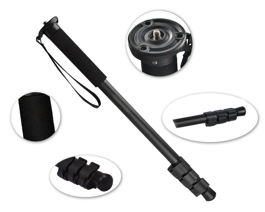 4-Sections Extendable Monopod for Cameras - Black