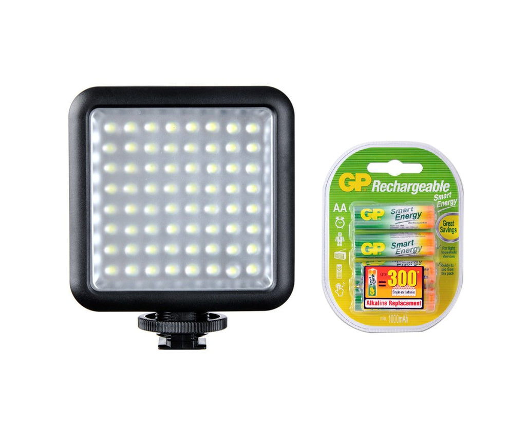 Godox LED 64 Video Light with GP Rechargeable Batteries
