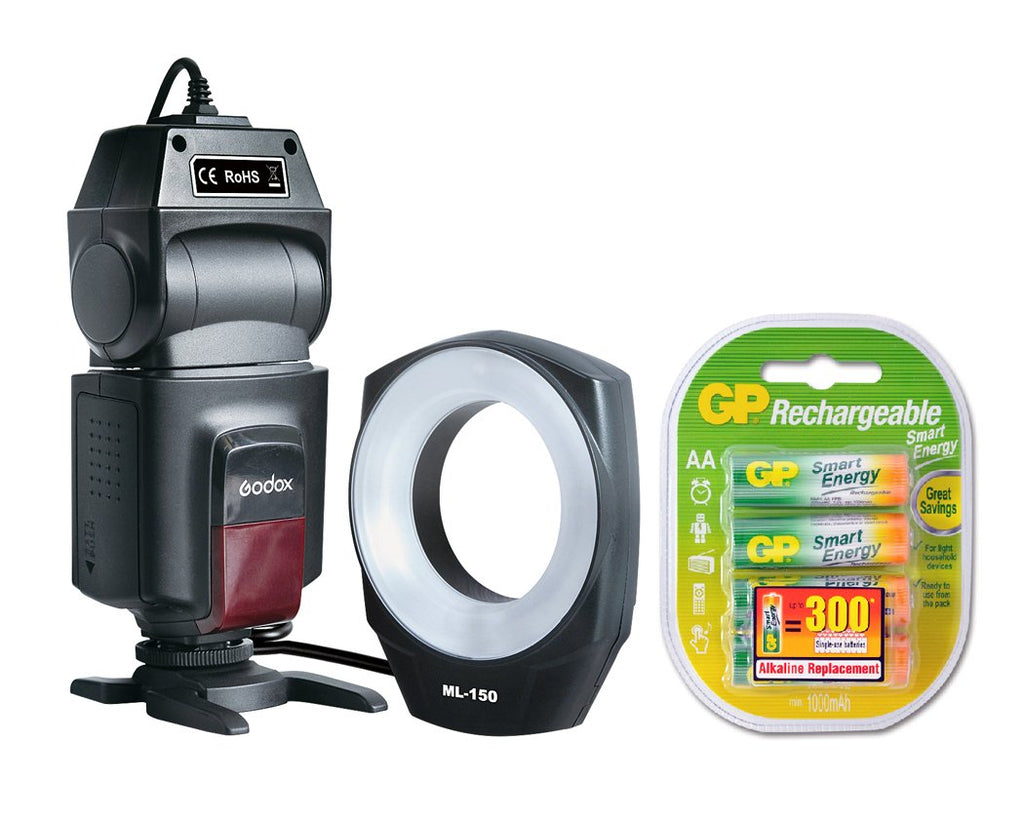 Godox ML-150 Macro Ring Flash with GP Rechargeable Batteries