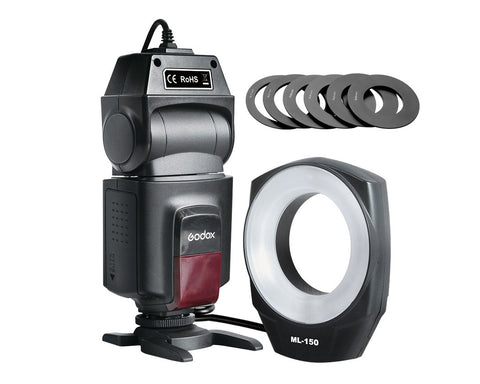 Godox ML-150 Macro Ring Flash with 6 Lens Adapter Rings