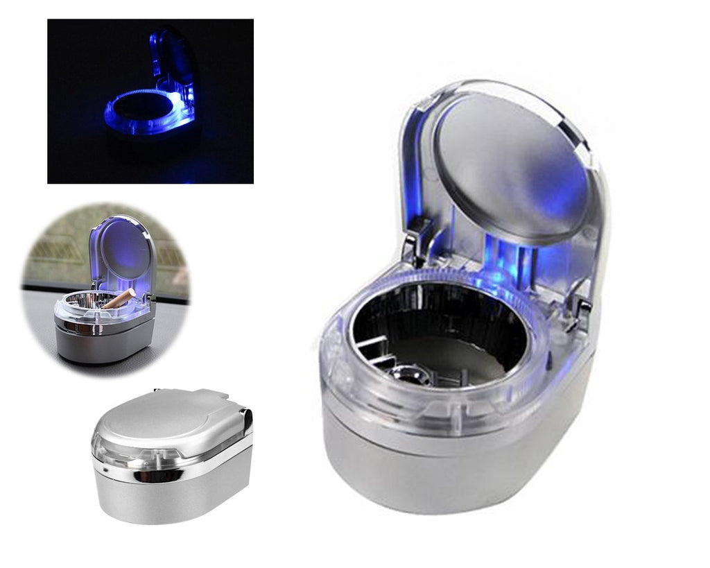 Mini Portable LED Car Cigarette Smokeless Ashtray - Silver