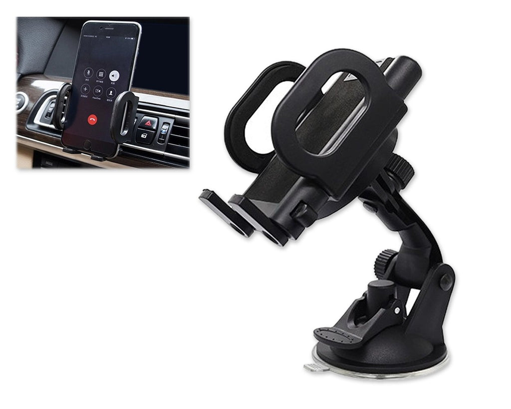 2-in-1 Universal Car Phone Holder Windshield / Vent Mount - Black