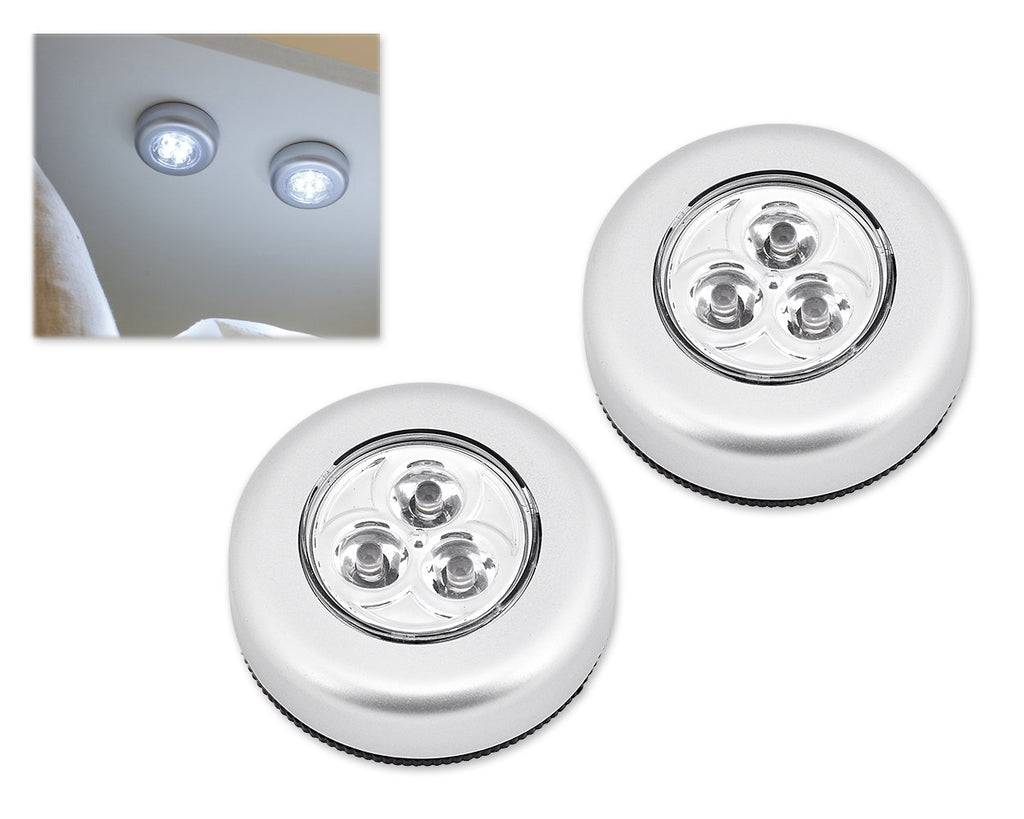 2 Pcs Mini 3 LED Battery-Operated Stick-On Tap Bulbs Light