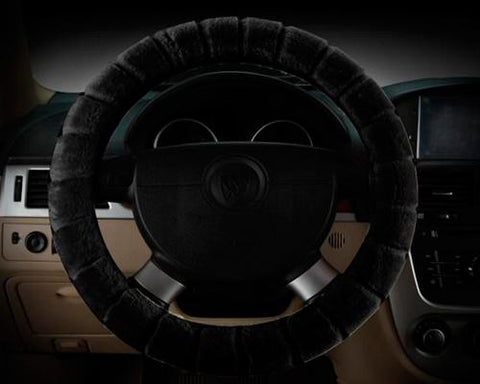 Soft Furry Car Stretch-on Steering Wheel Cover - Black