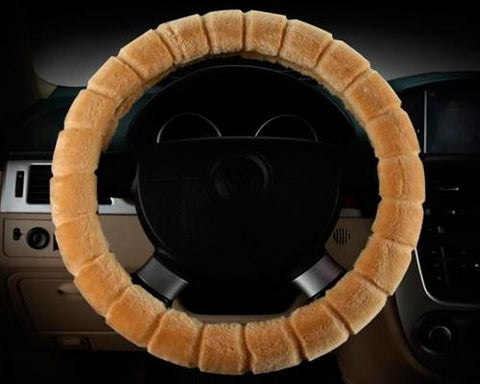 Soft Furry Car Stretch-on Steering Wheel Cover - Yellow