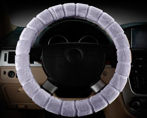 Soft Furry Car Stretch-on Steering Wheel Cover - Gray
