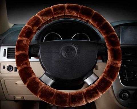 Soft Furry Car Stretch-on Steering Wheel Cover - Brown