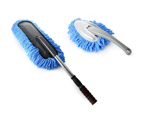 Removable Retractable Car Nanofiber Car Wash / Waxing Brush Set - Blue