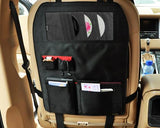 Universal Car Seat Backside Multi Pockets Storage Bag - Black
