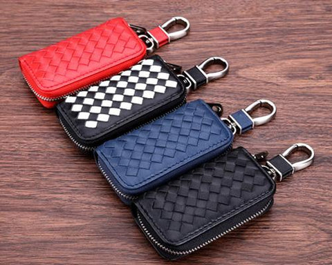 Weaving Series Leather Car Key Chain Bag