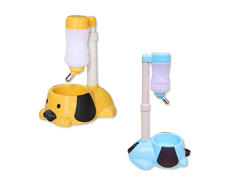 Puppy Style Pet Bowl Feeder with Water Bottle