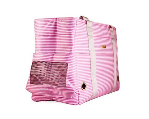 Stripe Series Pet Kennel Carrier Crate Tote Bag - Pink