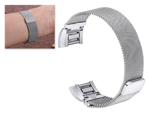 Magnet Stainless Steel Mesh Watch Band for Fitbit Alta - Silver